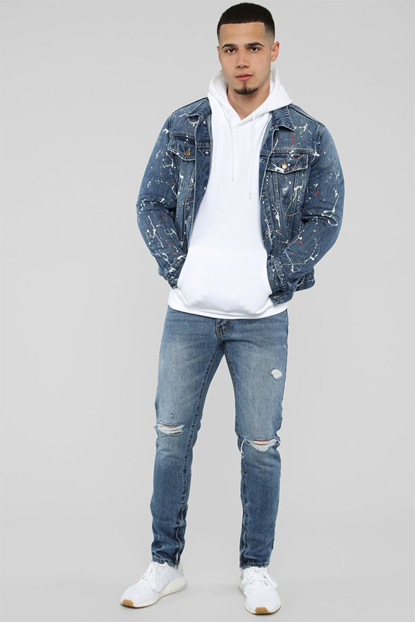 The fashion that there is the size that the !FASHION NOVA (fashion nova)  import brand men paint denim jacket denim jacket non,arrival from LA in  Japan