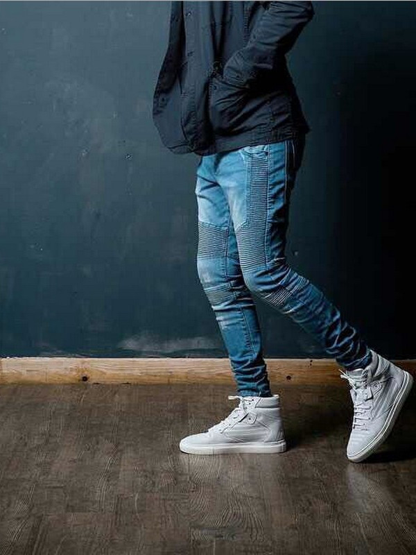 Skinny fit motorcycle jeans