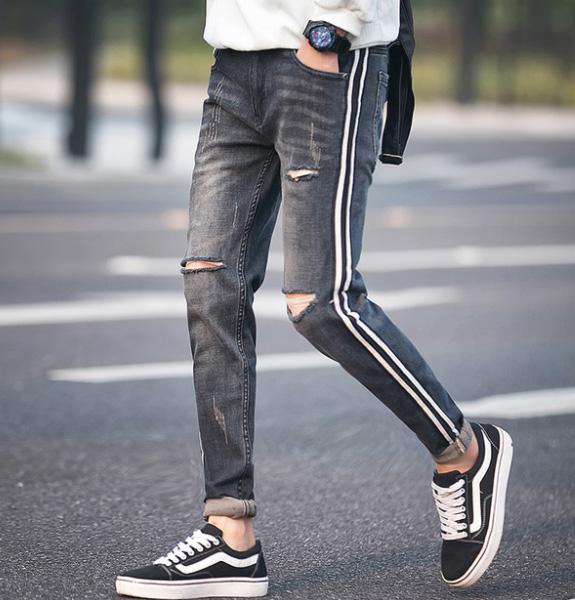 30代 ダメージジーンズ スリムデニム 40代 スリム スキニー メンズ スキニージーンズ オシャレ メンズ ジーンズ カジュアル スリムパンツ ジョガーパンツ スキニー スキニー ダメージ メンズ ダメージ 細身 ファッション 20代 トレンド サイドライン ジョガー