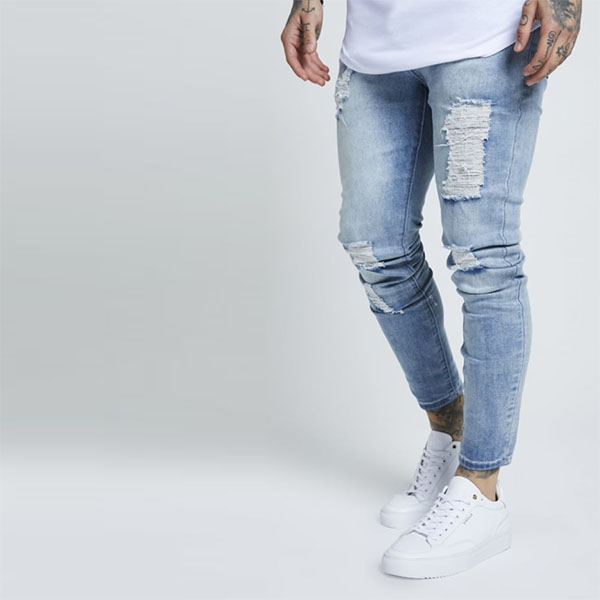 9ae42d6597 SIKSILK (chic silk) men's skinny jeans Kinney fitting stretch denim damage  repair jeans bottom ...