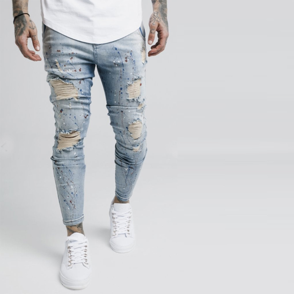 627cf01851 SIKSILK (chic silk) men's skinny jeans Kinney fitting stretch denim light  blue jeans bottom ...