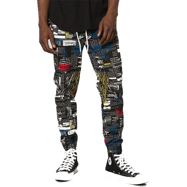 ELWOOD(エルウッド) メンズ 新聞柄 ジョガーパンツ スウェットパンツ 大きいサイズ インポート リゾート ストリート ファッション 日本未入荷 インスタ映え フェス 野外 男性 20代 30代 40代
