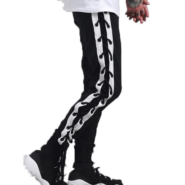 サイドレースアップ ストライプ メンズ ジョガーパンツ スウェットパンツ スエットパンツ ズボン ボトム 大きいサイズあり 20代 30代 40代 50代 お洒落 edm hiphop フェス divacloset メンズファッション ユニセックス ダンス