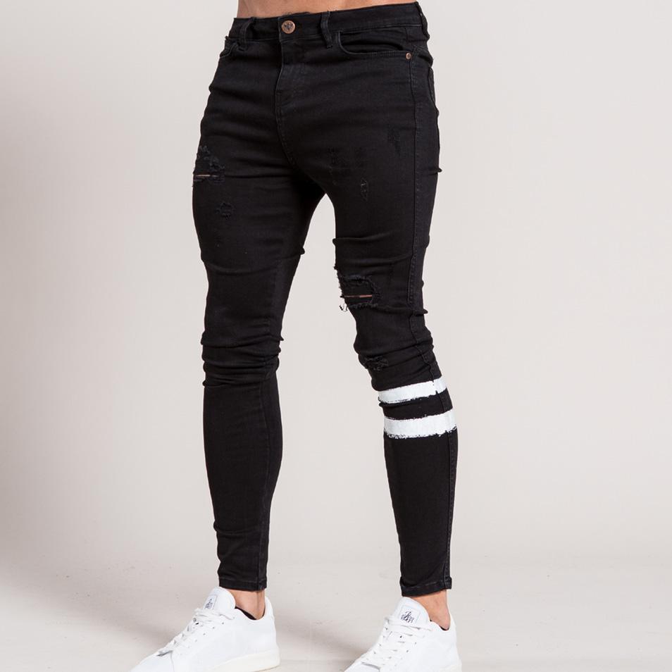 Bee Inspired Clothing (ビーインスパイアードクロージング)ダメージデニム ブラック 20代 30代 ファッション コーディネート スキニージーンズ ストライプ 日本未入荷 インポートブランド ジーンズ メンズ スリム パンツ スリムデニム 男 フェス 小さいサイズあり
