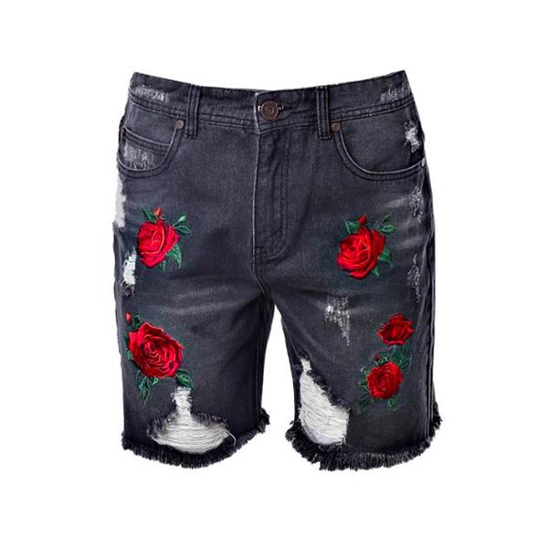 6c10056587d4c boohoo (Buch) loose fit short denim denim shorts half denim skater denim  Rose embroidery ...