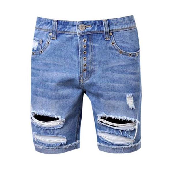 2720d4557f9aa boohoo (Buch) slim fitting short denim denim shorts half denim damage jeans  vintage wash ...