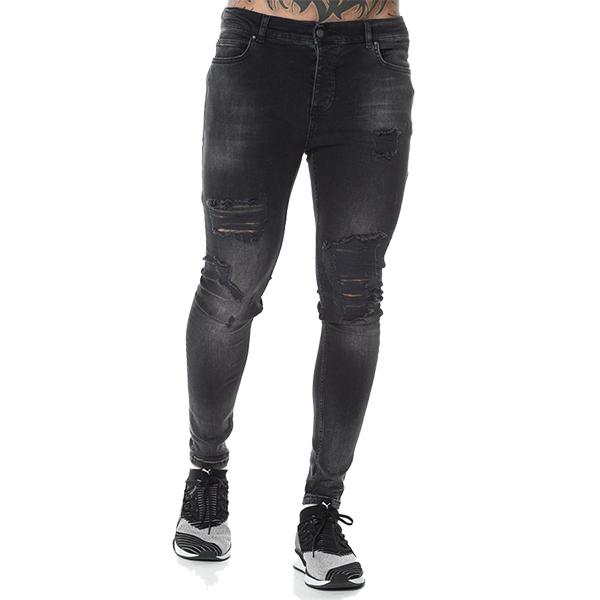 LEVEL 1 (レベルワン) デニム jeans ダメージデニム スキニー ジーンズ スキニーフィット リップデニム ウォッシュブラック 20代 30代 40代 ファッション コーディネート 大きいサイズ 日本未入荷 メンズ カジュアル ユニセックス メンズ 大人 男性 denim XS S M L XL