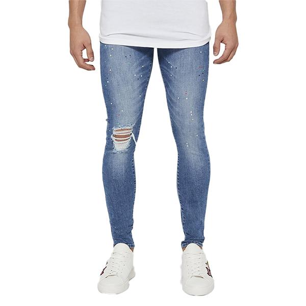 Good For Nothing (グッドフォーナッシング) ダメージデニム スキニー デニム ジーンズ ジーパン ボトム スキニーフィット スプラッター ブルー パンツ 20代 30代 40代 ファッション コーディネート 大きいサイズ 日本未入荷 メンズ カジュアル 大人 男性 女性 XS S M L XL
