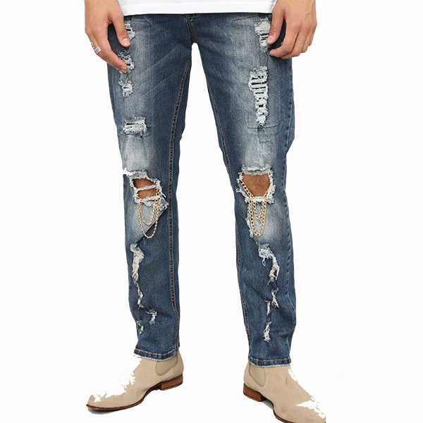 LA発!FASHION NOVA(ファッションノバ) インポートブランド メンズ デニム パンツ ダメージ チェーン バイカージーンズ ダメージジーンズ 日本未入荷 大きいサイズあり 流行 最新 メンズカジュアル edm フェス ファッション