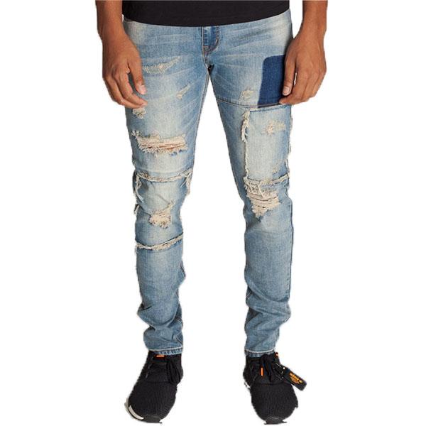 LA発!KDNK(ケーディーエヌケー)ダメージデニム ダメージジーンズ ブリーチ デニム メンズ パンツ 日本未入荷 インポートブランド 20代 30代 40代 ジョガーパンツ edm フェス ジッパー付き 男性 大きいサイズあり