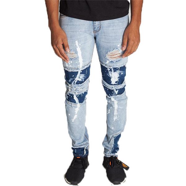 LA発!KDNK(ケーディーエヌケー)ペイント ダメージデニム ダメージジーンズ ブリーチ デニム メンズ パンツ 日本未入荷 インポートブランド 20代 30代 40代 ジョガーパンツ edm フェス ジッパー付き 男性 大きいサイズあり