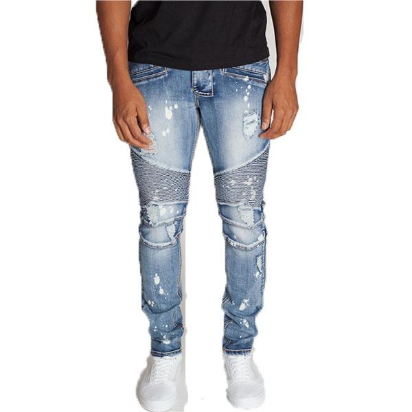 LA発!KDNK(ケーディーエヌケー)バイカー ダメージデニム ダメージジーンズ ブリーチ デニム メンズ パンツ 日本未入荷 インポートブランド 20代 30代 40代 ジョガーパンツ edm フェス ジッパー付き 男性 大きいサイズあり