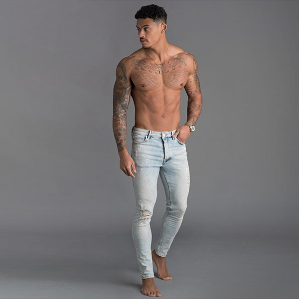 【Gym King(ジムキング)】メンズ スキニージーンズ ダメージデニム ジム デニム スキニーフィット ブルー ブラック ボトム ジーンズ ジーパン 大きいサイズ インポート 20代 30代 40代 ファッション コーディネート 日本未入荷