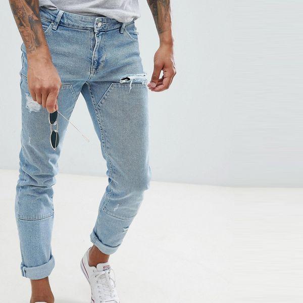 asos ASOS エイソス メンズ ASOS DESIGN ライトウォッシュブルー カット スキニージーンズ パネルを縫います 大きいサイズ インポート エクストリームスーパースキニーフィット スウェットパンツ ジーンズ ジーパン 20代 30代 40代 ファッション コーディネート