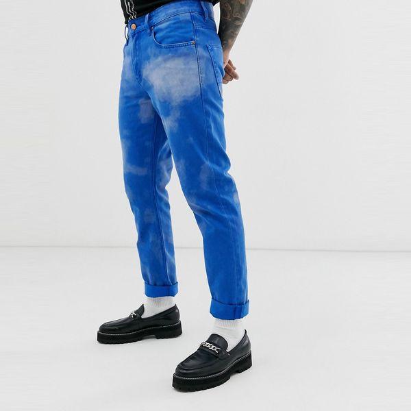 asos ASOS エイソス メンズ ASOS DESIGN 雲 効果 コバルトブルー スリムジーンズ 大きいサイズ インポート エクストリームスーパースキニーフィット スウェットパンツ ジーンズ ジーパン 20代 30代 40代 ファッション コーディネート