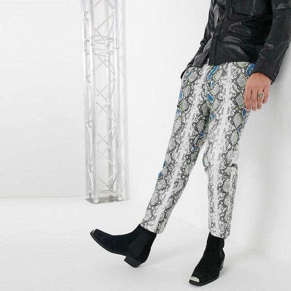 asos ASOS エイソス メンズ ASOS DESIGN 蛇皮 ジャカード Nテーパーズボン 大きいサイズ インポート エクストリームスーパースキニーフィット スウェットパンツ ジーンズ ジーパン 20代 30代 40代 ファッション コーディネート