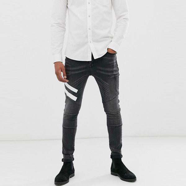 asos ASOS エイソス メンズ ASOS DESIGN ホワイトプリントディテール ブラックウオッシュ スーパースキニーバイカージーンズ 大きいサイズ インポート エクストリームスーパースキニーフィット スウェットパンツ ジーンズ ジーパン 20代 30代 40代 ファッション