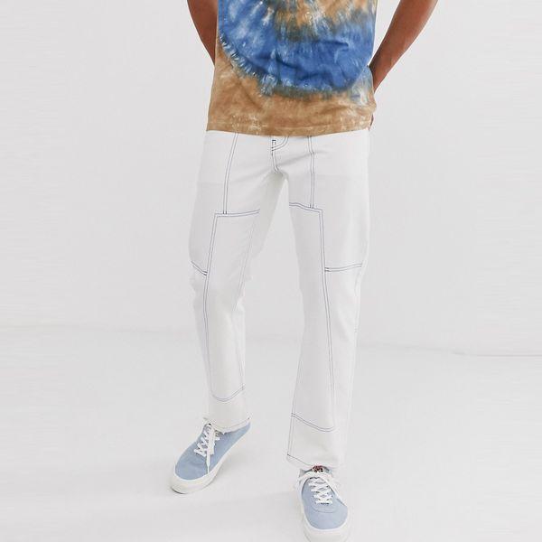ASOSセレクト Noak asos ASOS エイソス メンズ Noak コントラストステッチ オフホワイト ジーンズ 大きいサイズ インポート エクストリームスーパースキニーフィット スウェットパンツ ジーンズ ジーパン 20代 30代 40代 ファッション コーディネート