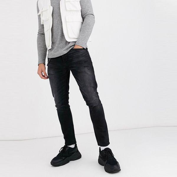 ASOSセレクト Pull&Bear asos ASOS エイソス メンズ Pull&Bear ブラック ウォッシュ スキニー テーパーフィットジーンズ 大きいサイズ インポート エクストリームスーパースキニーフィット スウェットパンツ ジーンズ ジーパン 20代 30代 40代 ファッション コーディネート