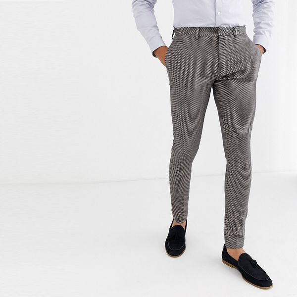 asos ASOS エイソス メンズ ASOS DESIGN 日焼け マイクロテクスチャー 結婚式 スーパースキニー スーツ ズボン 大きいサイズ インポート エクストリームスーパースキニーフィット スウェットパンツ ジーンズ ジーパン 20代 30代 40代 ファッション コーディネート