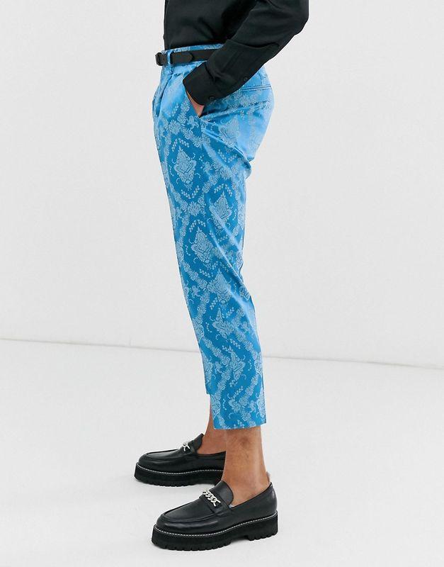 asos ASOS エイソス メンズ ASOS DESIGN スリム N ブルー 色調 ジャカード スーツ ズボン トリミング 大きいサイズ インポート エクストリームスーパースキニーフィット スウェットパンツ ジーンズ ジーパン 20代 30代 40代 ファッション コーディネートlF1KJTc
