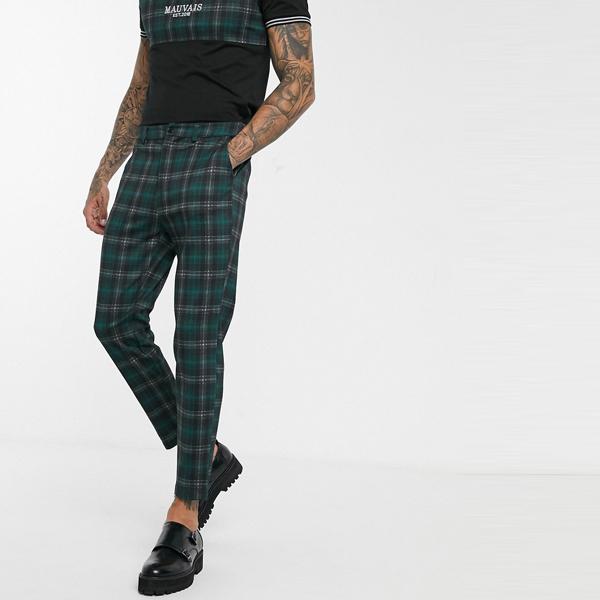 ASOSセレクト Mauvais asos ASOS エイソス メンズ Mauvais グリーン ブラック チェック テーパー ズボン 大きいサイズ インポート エクストリームスーパースキニーフィット スウェットパンツ ジーンズ ジーパン 20代 30代 40代 ファッション コーディネート