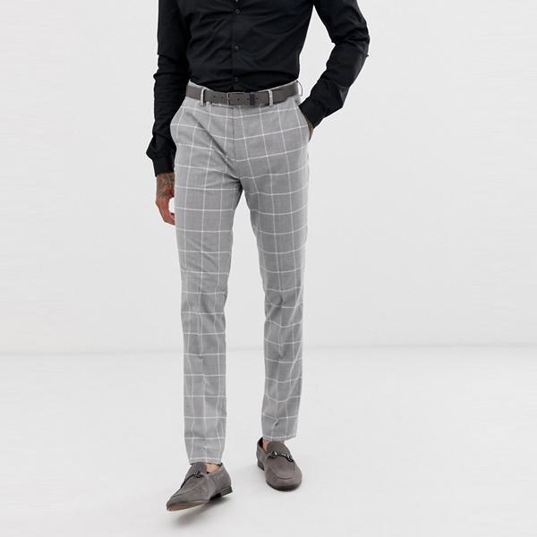 ASOSセレクト Avail London asos ASOS エイソス メンズ ライトグレー 窓ガラス チェック スキニーフィットスーツ ズボン 大きいサイズ インポート エクストリームスーパースキニーフィット スウェットパンツ ジーンズ ジーパン 20代 30代 40代 ファッション コーディネート