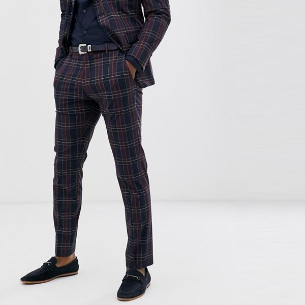 ASOSセレクト Selected Homme asos ASOS エイソス メンズ ネイビーレッド チェック スリムフィットスーツ ズボン 大きいサイズ インポート エクストリームスーパースキニーフィット スウェットパンツ ジーンズ ジーパン 20代 30代 40代 ファッション コーディネート