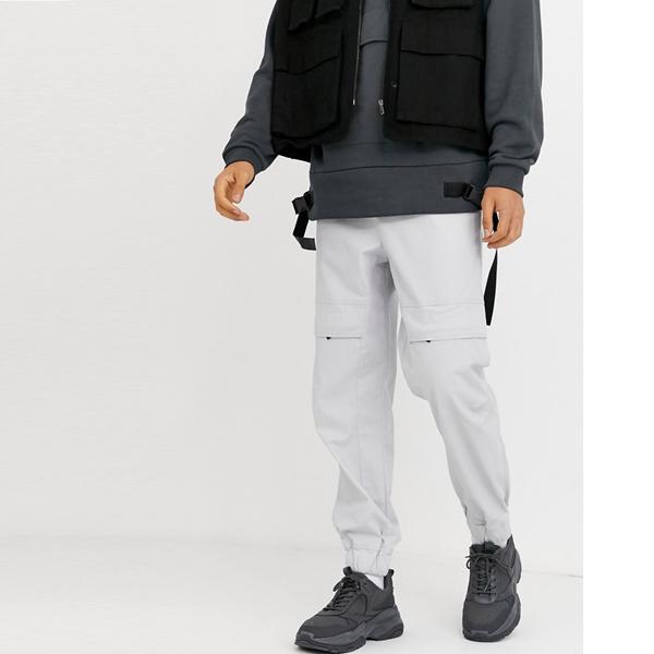 asos ASOS エイソス メンズ ASOS DESIGN グレー 隠しポケット付き 特大 テーパー ズボン 大きいサイズ インポート エクストリームスーパースキニーフィット スウェットパンツ ジーンズ ジーパン 20代 30代 40代 ファッション コーディネート