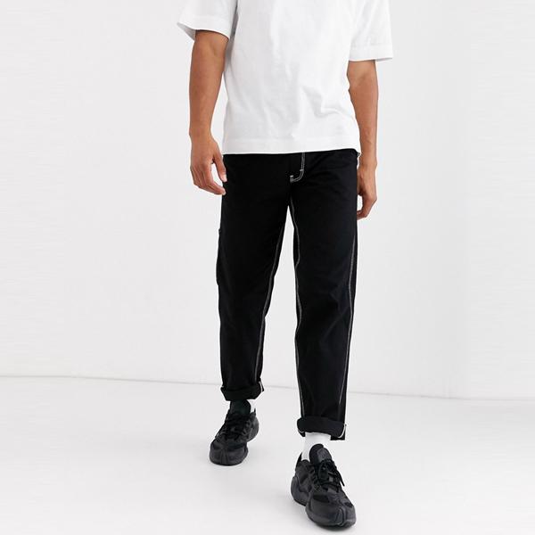 ASOSセレクト Vintage Supply asos ASOS エイソス メンズ Vintage Supply ブラック 大工 コントラスト ステッチ ズボン 大きいサイズ インポート エクストリームスーパースキニーフィット スウェットパンツ ジーンズ ジーパン 20代 30代 40代 ファッション コーディネート