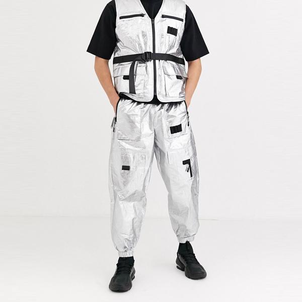 asos ASOS エイソス メンズ ASOS DESIGN コントラスト 共同ORD 特大 テーパー ハイテク ジョギング 銀 ジッパー 大きいサイズ インポート エクストリームスーパースキニーフィット スウェットパンツ ジーンズ ジーパン 20代 30代 40代 ファッション コーディネート