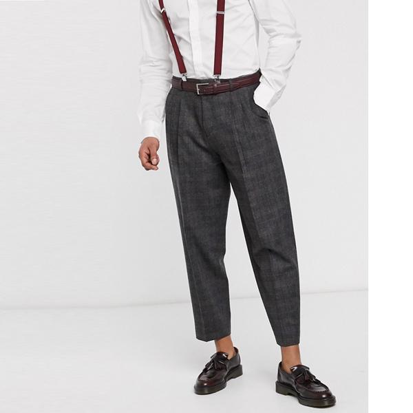 ASOSセレクト Shelby & Sons asos ASOS エイソス メンズ グレー チェック ダブルプリーツ テーパー フィット ズボン 大きいサイズ インポート エクストリームスーパースキニーフィット スウェットパンツ ジーンズ ジーパン 20代 30代 40代 ファッション コーディネート
