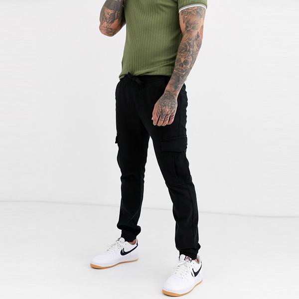 ASOSセレクト Tom Tailor asos ASOS エイソス メンズ Tom Tailor ブラック カーゴ 大きいサイズ インポート エクストリームスーパースキニーフィット スウェットパンツ ジーンズ ジーパン 20代 30代 40代 ファッション コーディネート