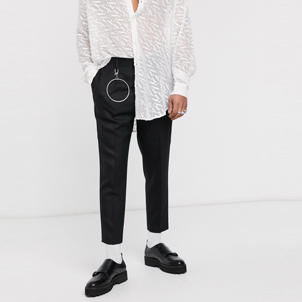 asos ASOS エイソス メンズ ASOS EDITION 金属加工 テーパー ブラック ジャガードパンツ 大きいサイズ インポート エクストリームスーパースキニーフィット スウェットパンツ ジーンズ ジーパン 20代 30代 40代 ファッション コーディネート