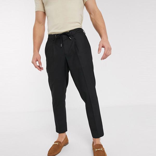 ASOSセレクト Selected Homme asos ASOS エイソス メンズ スリムフィット ブラック ドローストリング スマート ズボン 大きいサイズ インポート エクストリームスーパースキニーフィット スウェットパンツ ジーンズ ジーパン 20代 30代 40代 ファッション コーディネート