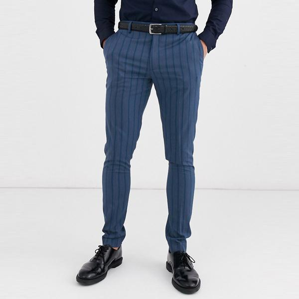 asos ASOS エイソス メンズ ASOS DESIGN ブルー 色調 ストライプ スーパースキニー スーツ ズボン 大きいサイズ インポート エクストリームスーパースキニーフィット スウェットパンツ ジーンズ ジーパン 20代 30代 40代 ファッション コーディネート