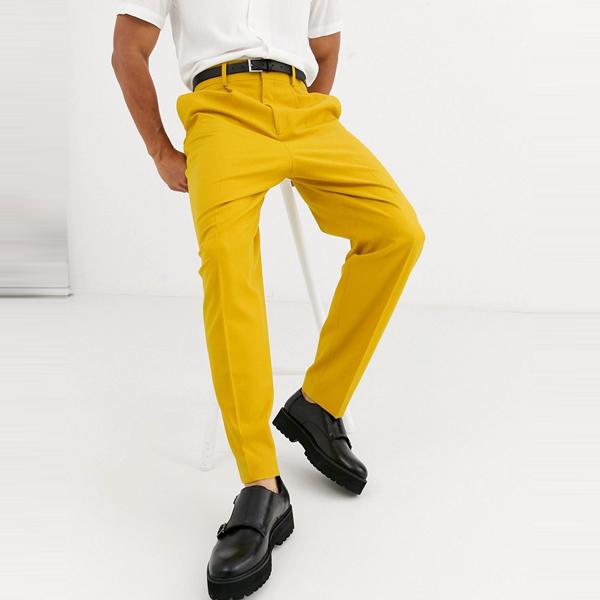 asos ASOS エイソス メンズ ASOS DESIGN 蜂蜜 黄色 パネリング スマート パンツ バルーン 大きいサイズ インポート エクストリームスーパースキニーフィット スウェットパンツ ジーンズ ジーパン 20代 30代 40代 ファッション コーディネート