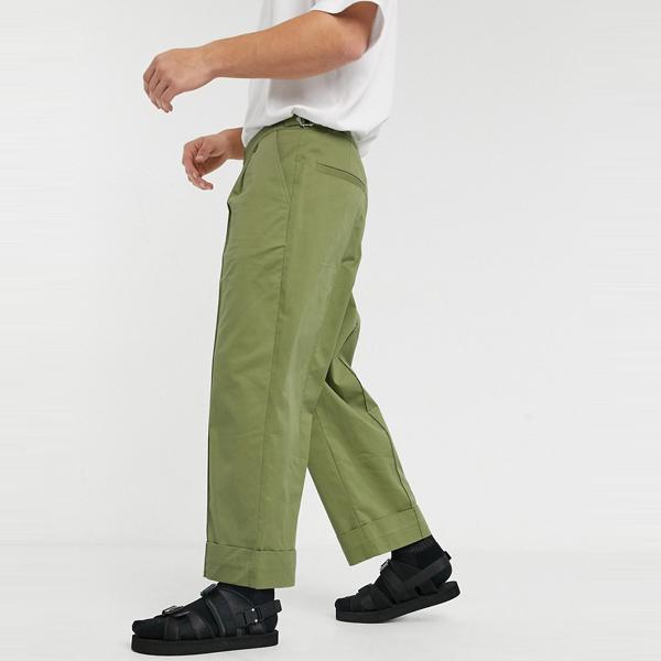 asos ASOS エイソス メンズ ASOS WHITE グリーン フロント折り目付き ワイドレッグパンツ 大きいサイズ インポート エクストリームスーパースキニーフィット スウェットパンツ ジーンズ ジーパン 20代 30代 40代 ファッション コーディネート