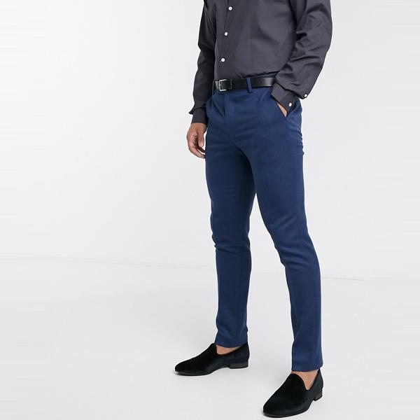 asos ASOS エイソス メンズ ASOS DESIGN ブルー ウール ミックスツイル 結婚式 スキニー スーツズボン 大きいサイズ インポート エクストリームスーパースキニーフィット スウェットパンツ ジーンズ ジーパン 20代 30代 40代 ファッション コーディネート
