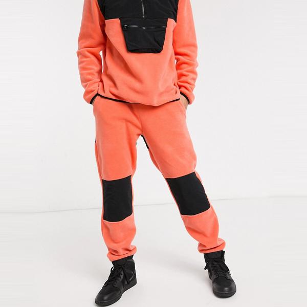 asos ASOS エイソス メンズ ASOS DESIGN サンゴ ナイロン パネル付き フリース 共同ORD テーパー ジョギング 大きいサイズ インポート エクストリームスーパースキニーフィット スウェットパンツ ジーンズ ジーパン 20代 30代 40代 ファッション コーディネート