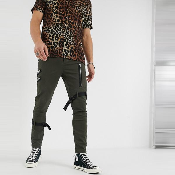 asos ASOS エイソス メンズ ASOS DESIGN ジップ ストラップ ディテール付き スキニー パンツ 大きいサイズ インポート エクストリームスーパースキニーフィット スウェットパンツ ジーンズ ジーパン 20代 30代 40代 ファッション コーディネート