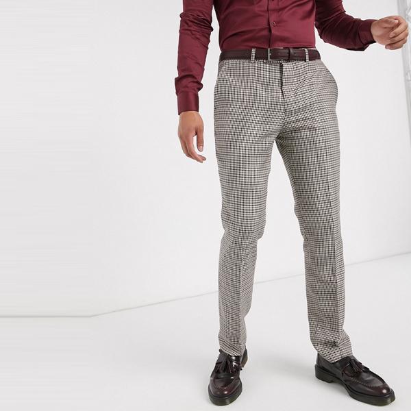 ASOSセレクト Lockstock asos ASOS エイソス メンズ Lockstock Ludlow マイクロ 茶色 チェック スーツズボン 大きいサイズ インポート エクストリームスーパースキニーフィット スウェットパンツ ジーンズ ジーパン 20代 30代 40代 ファッション コーディネート