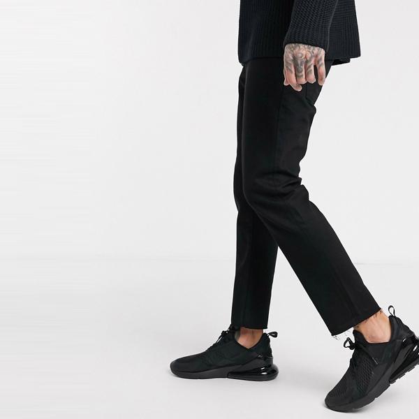 asos ASOS エイソス メンズ ASOS DESIGN 生裾 ブラック トリミング 剛性 スリムジーンズ 大きいサイズ インポート エクストリームスーパースキニーフィット スウェットパンツ ジーンズ ジーパン 20代 30代 40代 ファッション コーディネート