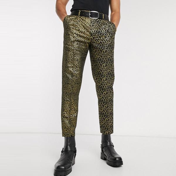 asos ASOS エイソス メンズ ASOS DESIGN ブラック 半々 動物 ジャガード スリム クロップ パンツ 大きいサイズ インポート エクストリームスーパースキニーフィット スウェットパンツ ジーンズ ジーパン 20代 30代 40代 ファッション コーディネート