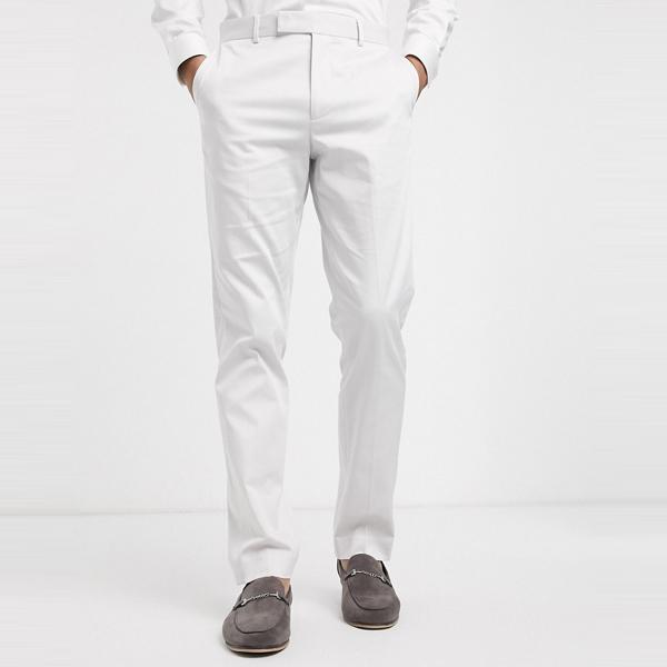 asos ASOS エイソス メンズ ASOS DESIGN ライト グレー ストレッチ コットン 結婚式 スリム スーツ ズボン 大きいサイズ インポート エクストリームスーパースキニーフィット スウェットパンツ ジーンズ ジーパン 20代 30代 40代 ファッション コーディネート