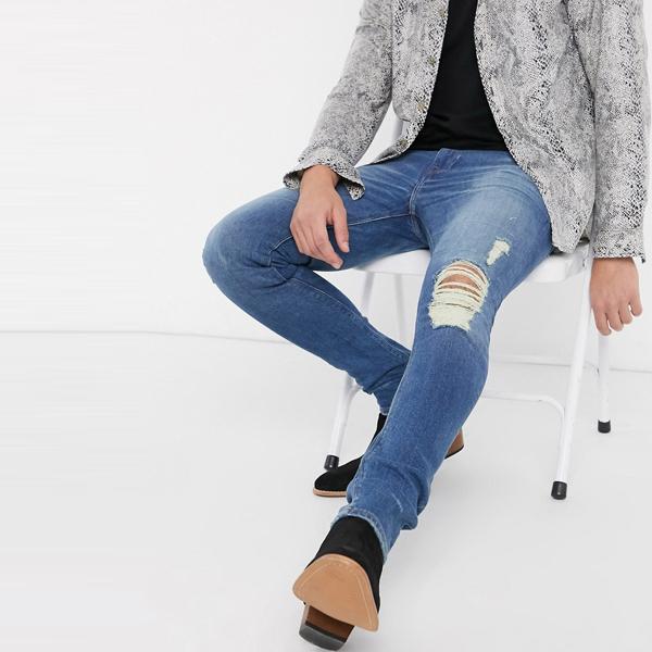 asos ASOS エイソス メンズ ASOS DESIGN 膝 リッピング ヴィンテージ ミッド ウォッシュ スーパー スキニー ジーンズ 大きいサイズ インポート エクストリームスーパースキニーフィット スウェットパンツ ジーンズ ジーパン 20代 30代 40代 ファッション コーディネート