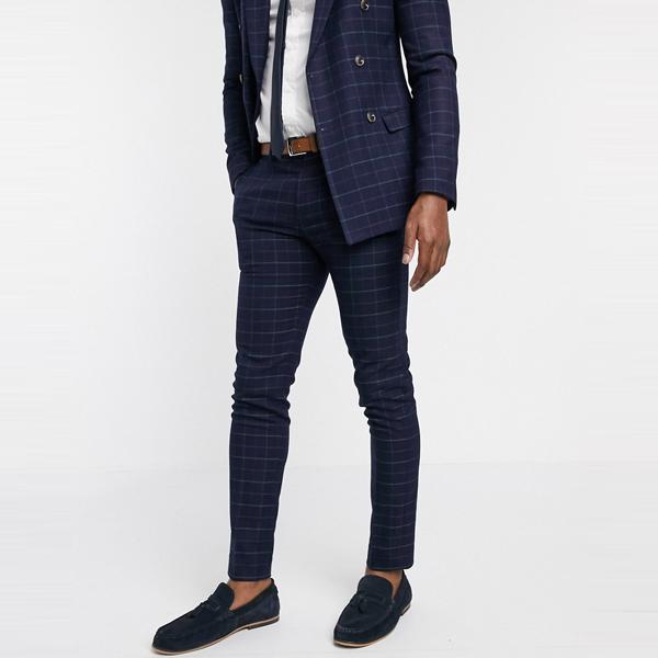 ASOSセレクト Topman asos ASOS エイソス メンズ Topman ネイビー チェック スーツ ズボン 大きいサイズ インポート エクストリームスーパースキニーフィット スウェットパンツ ジーンズ ジーパン 20代 30代 40代 ファッション コーディネート