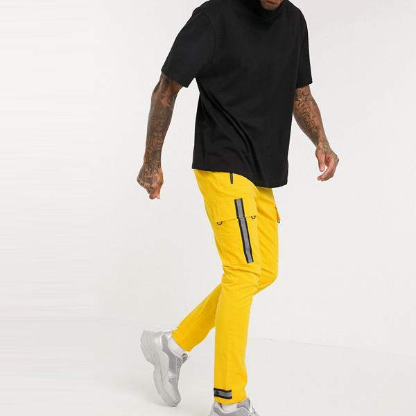 asos ASOS エイソス メンズ ASOS DESIGN 反射 テープ 黄色 スキニー カーゴパンツ 大きいサイズ インポート エクストリームスーパースキニーフィット スウェットパンツ ジーンズ ジーパン 20代 30代 40代 ファッション コーディネート