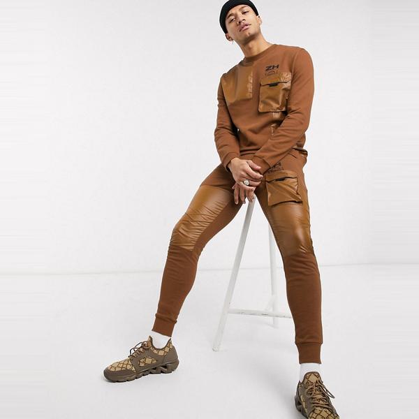 asos ASOS エイソス メンズ ASOS DESIGN 共同ORD 織り ユーティリティ ディティール スキニー ジョギング 大きいサイズ インポート エクストリームスーパースキニーフィット スウェットパンツ ジーンズ ジーパン 20代 30代 40代 ファッション コーディネート
