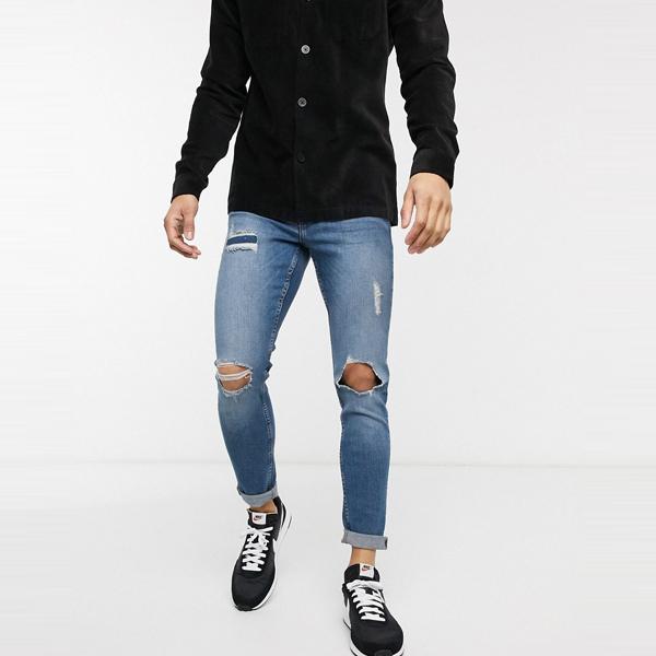 ASOSセレクト New Look asos ASOS エイソス メンズ New Look ライト ウォッシュ リッピング 修理 スキニー ジーンズ 大きいサイズ インポート エクストリームスーパースキニーフィット スウェットパンツ ジーンズ ジーパン 20代 30代 40代 ファッション コーディネート